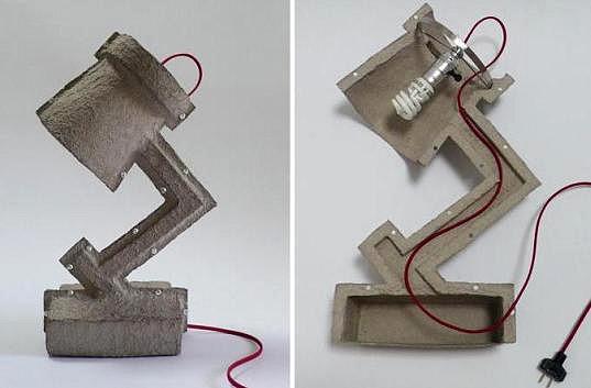Lamp van papierpulp